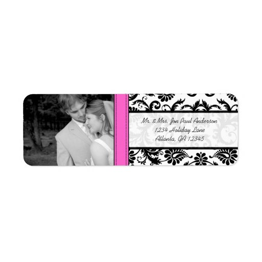 Your Photo Wedding Vintage Pink Damask Custom Return Address Labels