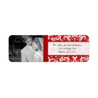 Your Photo Wedding Vintage Red Damask Return Address Label