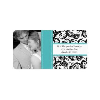 Your Photo Wedding Vintage Regatta Damask Address Label