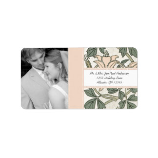 Your Photo Wedding Vintage Silver Peony Green Custom Address Labels