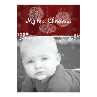 Your Photo White Ornaments My 1st Christmas Card