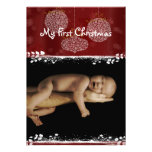 Your Photo White Ornaments My 1st Christmas Announcement