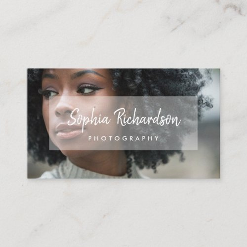 Your Photo with Modern Handwritten Script Overlay Business Card