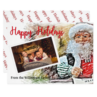 Your Photo With Santa and His List Happy Holidays Card