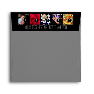 Your Photos and Your Greeting Text on Black Envelope