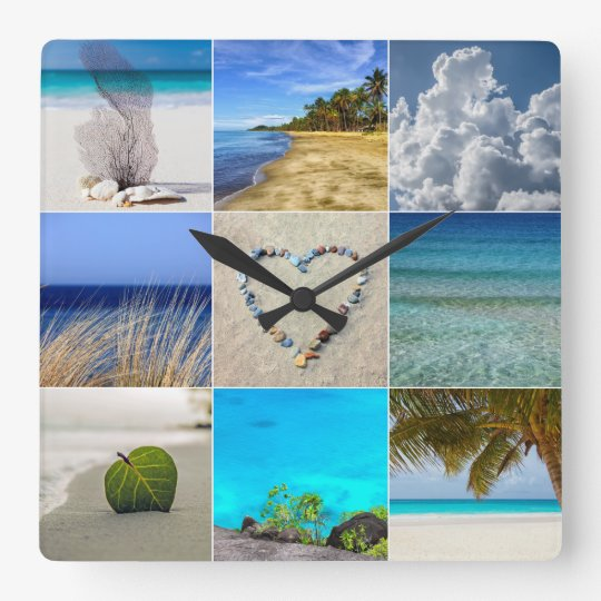 your photos collage template square wall clock zazzle com