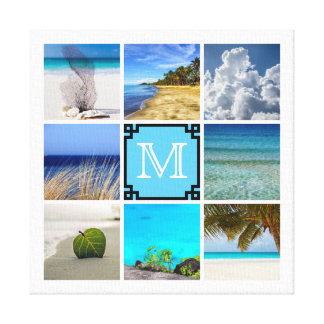 Your Photos Collage Template With White Monogram Canvas Print