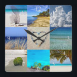 """Your Photos Collage With Numbers Square Wall Clock<br><div class=""""desc"""">Your Photos Collage Template Clock. Upload up to nine of your photos into this collage template. This design is perfect for vacation or family photos. Not every photo needs to be changed. Each photo will automatically be cropped to size in a square shape.</div>"""
