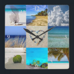 "Your Photos Collage With Numbers Square Wall Clock<br><div class=""desc"">Your Photos Collage Template Clock. Upload up to nine of your photos into this collage template. This design is perfect for vacation or family photos. Not every photo needs to be changed. Each photo will automatically be cropped to size in a square shape.</div>"