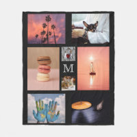 YOUR PHOTOS custom collage template fleece blanket