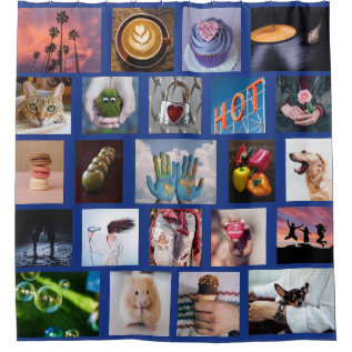 Your Photos Custom Collage Template Shower Curtain at Zazzle