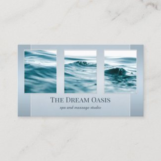 Your Photos Dream Blue Spa Massage Business Card