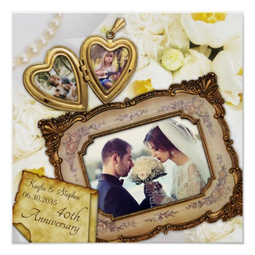 Your Photos Heart Locket Antique Frame Anniversary Poster