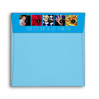 Your Photos Images and Your Greeting Text Blue Envelope