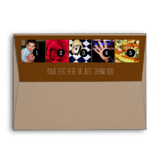 Your Photos Images and Your Greeting Text brown Envelope
