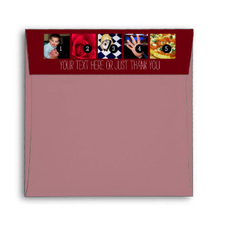 Your Photos Images and Your Greeting Text Burgundy Envelope