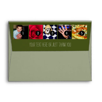 Your Photos Images and Your Greeting Text on Green Envelope