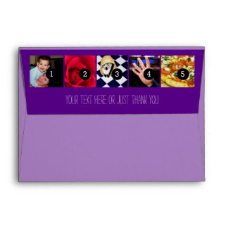 Your Photos Images and Your Greeting Text Purple Envelope