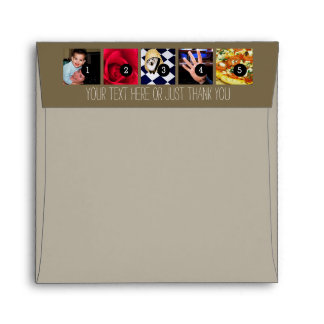 Your Photos Images and Your Greeting Text taupe Envelope