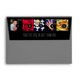 Your Photos Images Your Greeting Text on Black Envelope