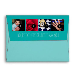Your Photos Images Your Greeting Text Turquoise Envelope