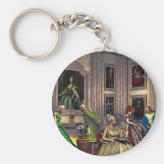Your photos in a historical art gallery keychains
