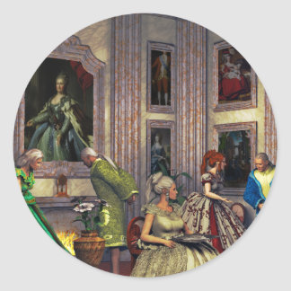 Your photos in a historical art gallery round sticker