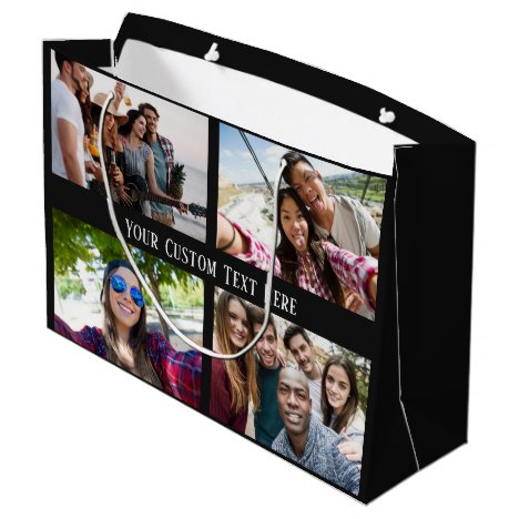 YOUR PHOTOS, TEXT & COLOR large gift bag