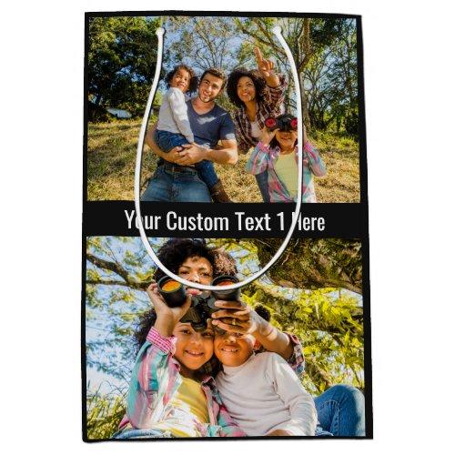 YOUR Photos, Text & Color medium gift bag