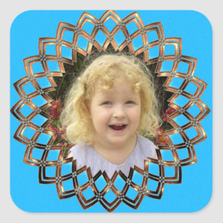 Your picture in a golden frame square sticker
