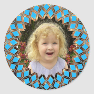 Your picture in a golden frame round sticker