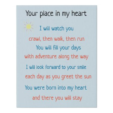 Art Themed Your place in my heart poem faux canvas print