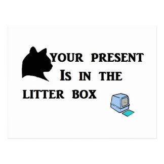 Your Present Is In The Litter Box Postcard