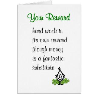 Your Reward - a funny poem to accompany a bonus Card