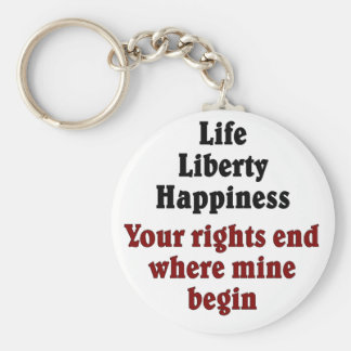 Your rights end where mine begin keychain