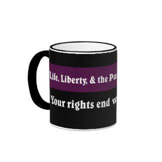 Your rights end where mine begin ringer mug