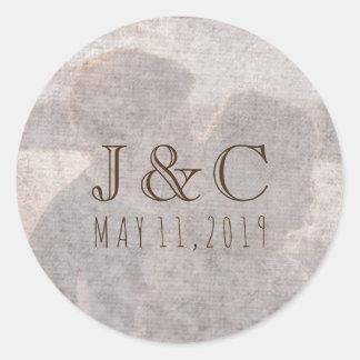 Your Romantic Photo, Monogram, and Date Classic Round Sticker