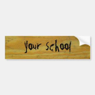 Your school on old school desk background bumper sticker
