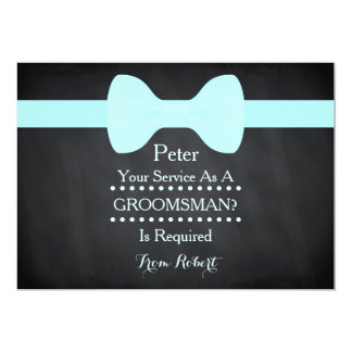 Your service as a Groomsman Black Chalkboard Bow Card