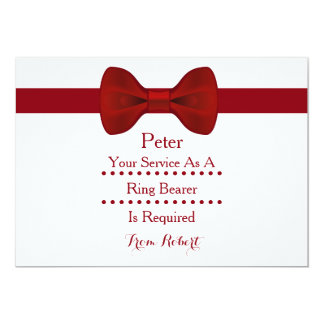 Your service as a Ring Bearer is required Red Bow 5x7 Paper Invitation Card