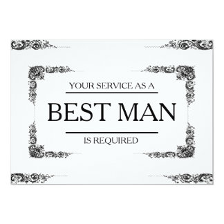 Your Service Is Requested as Best Man Groomsman 5x7 Paper Invitation Card