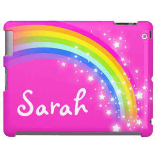 Your short name rainbow bright pink girl ipad case