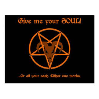 Your Soul Or Cash Satan Pentacle and Goat Humor Postcard
