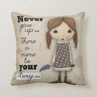 Your Story-Girl with Pen and Ink Throw Pillow