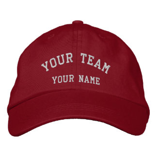 Your Team Embroidered Red/White Cap Template