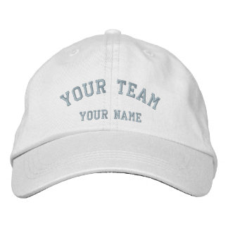 Your Team Embroidered White/Baby Blue Cap Template