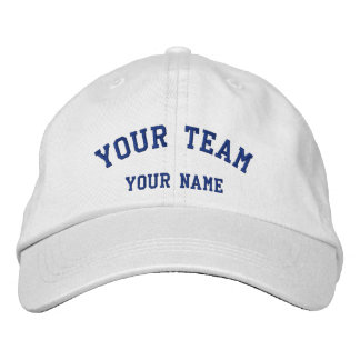 Your Team Embroidered White/Blue Cap Template