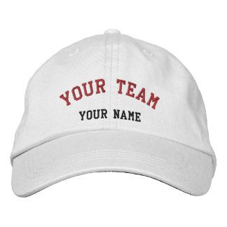 Your Team Embroidered White/Red Cap Template