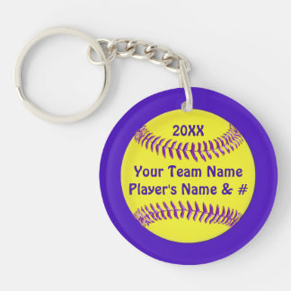 Your Text and Colors Cheap Softball Keychains