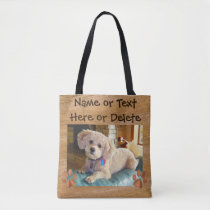 Your Text and Dog Photo Tote Bags